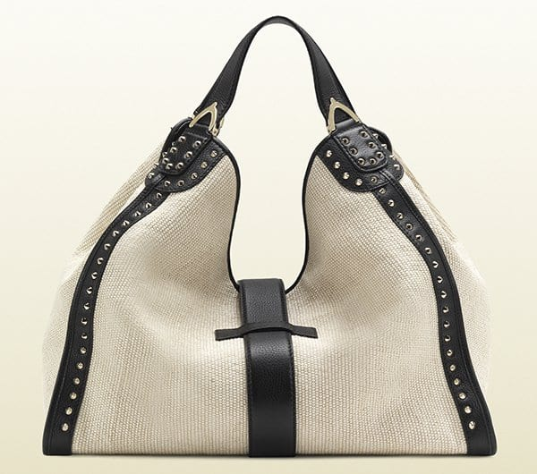Gucci Soft Stirrup White Straw Shoulder Bag1