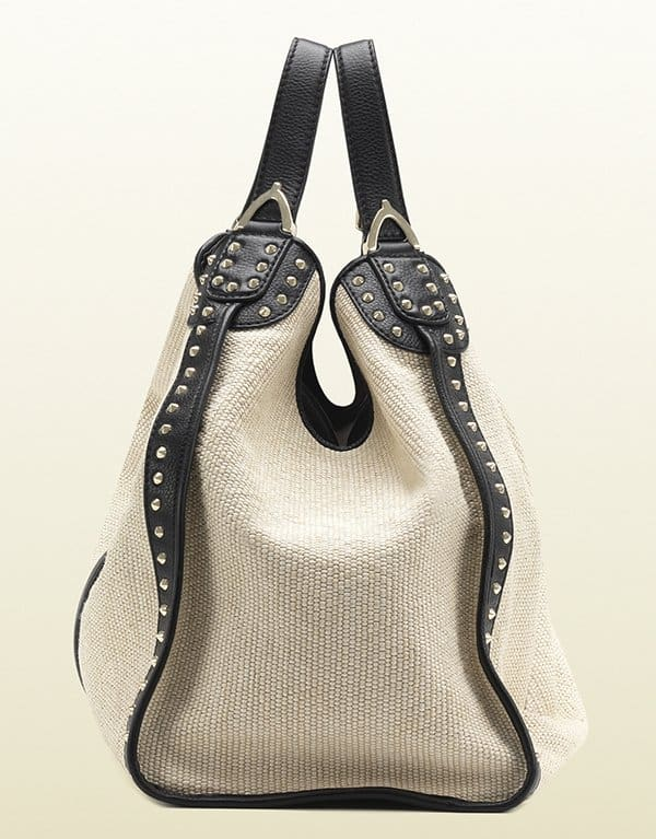 Gucci Soft Stirrup White Straw Shoulder Bag2