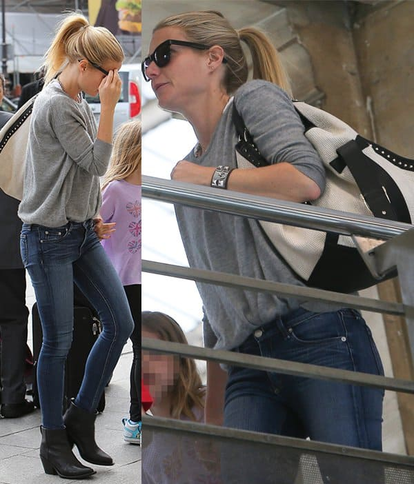 Gwyneth Paltrow with her children, Apple and Moses at North station in Paris on April 15, 2013