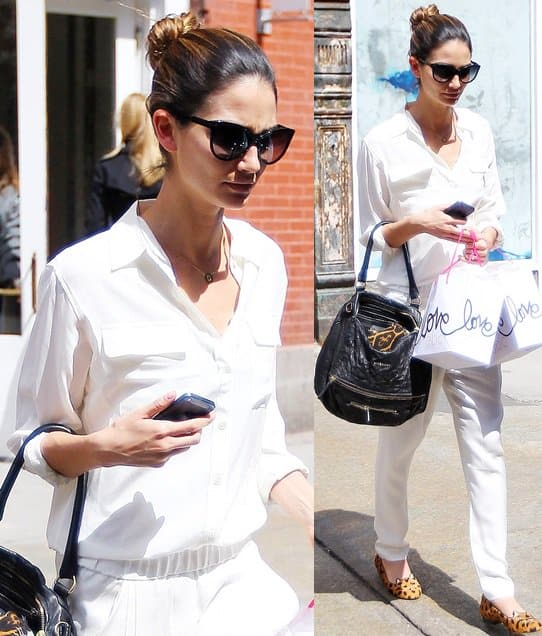 Lily Aldridge carrying a Givenchy Pandora bag as she leaves ABC Kitchen