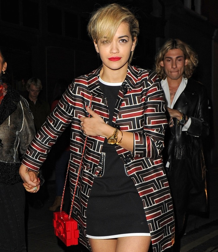 Rita Ora leaves Groucho club and heads for the Dorchester hotel in London on May 10, 2013