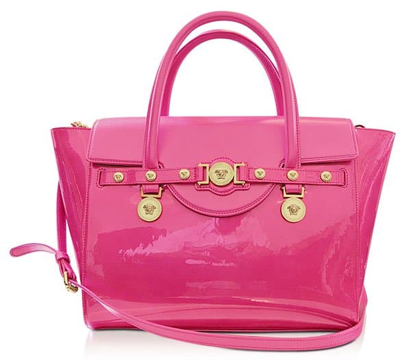 Versace Large Signature Patent Leather Tote in Pink
