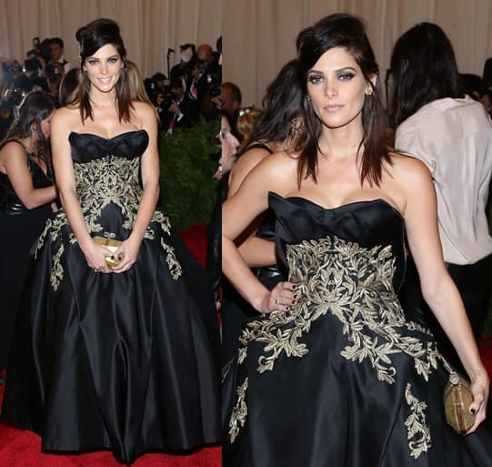 Honestly, we didn't like Ashley's gold-embellished Marchesa gown