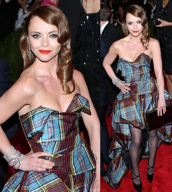 Christina Ricci sure stood out in her plaid gown last evening