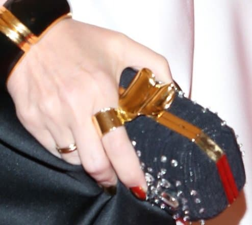 Kylie Minogue toting crystal clutch