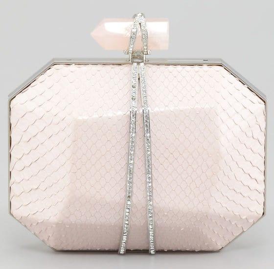 Marchesa Iris Python Skin Minaudiere in Light Pink