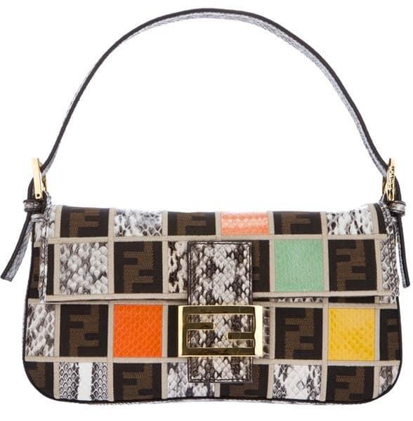 Fendi Baguette Snakeskin Patchwork Bag