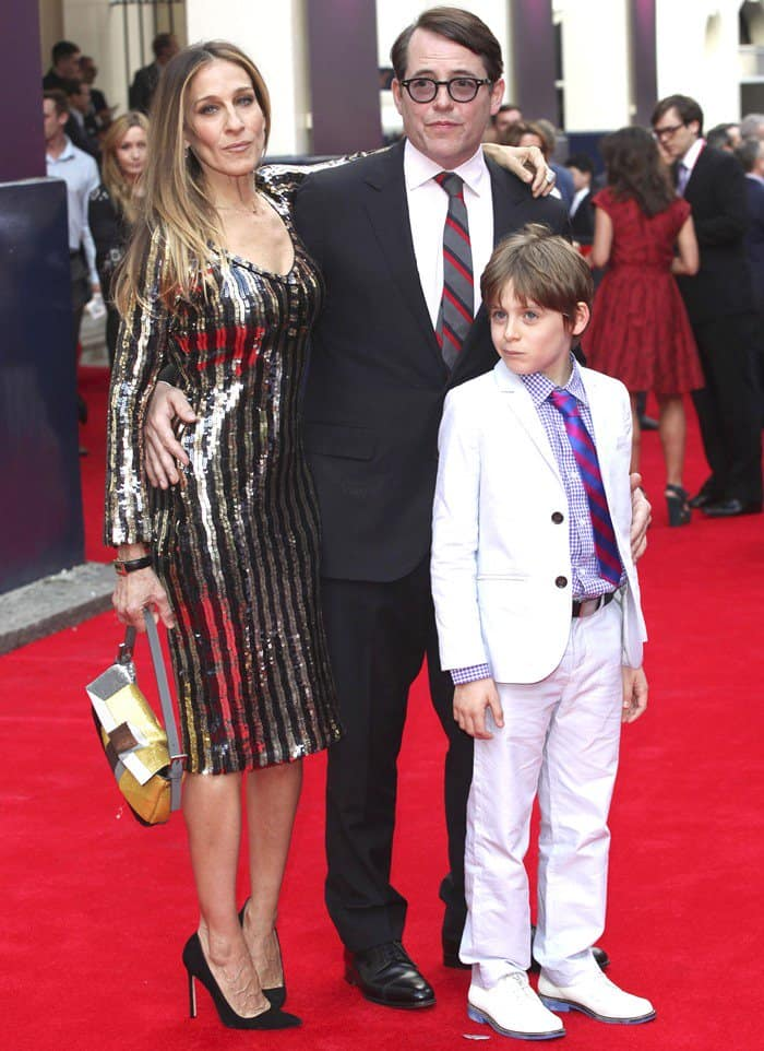 Sarah Jessica Parker, Matthew Broderick, and James Broderick at the Charlie and the Chocolate Factory Press Night at the Theatre Royal in London, England, on June 25, 2013