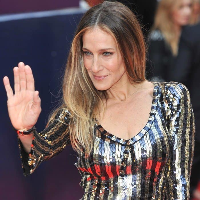 Sarah Jessica Parker wearing a sequined dress from Marc Jacob's Resort 2014 collection