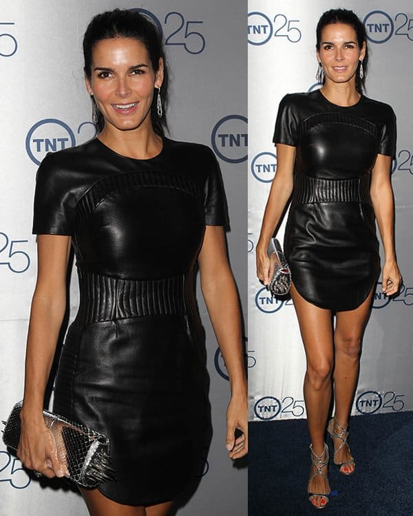 Angie Harmon in a black leather dress at TNT's 25th Year Celebration at the TCA Summer Tour in Beverly Hills on July 24, 2013