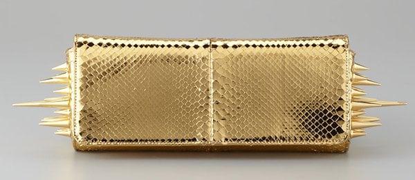 Christian Louboutin Marquise Metallic Python Clutch Gold