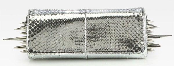 Christian Louboutin Marquise Metallic Python Clutch Silver