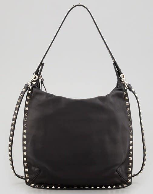 Valentino Rockstud Flat Hobo Bag