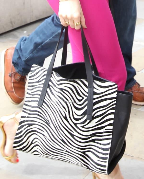 A closer look at Jessie's zebra-print tote