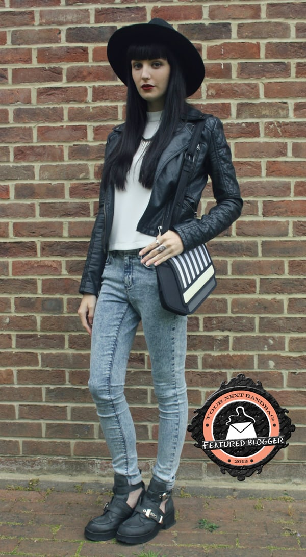 Kayleigh styled her bag with acid-washed jeans and cutout booties