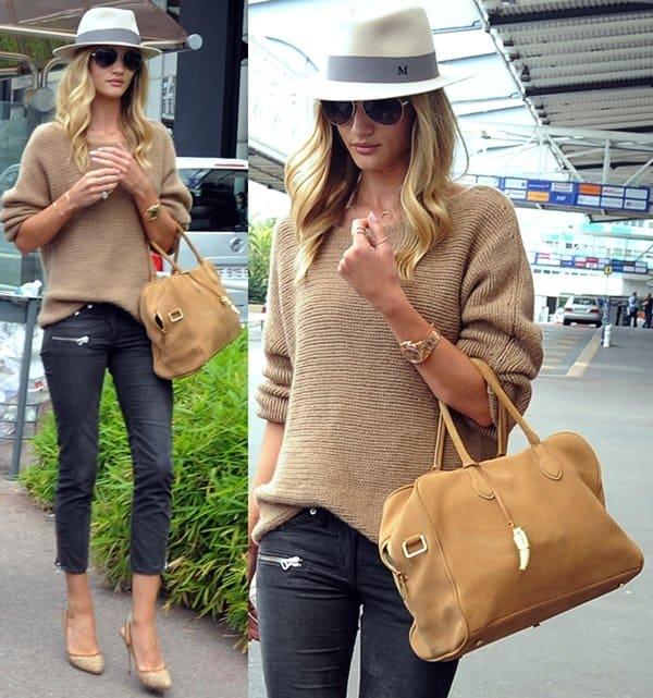 Jason Statham and girlfriend Rosie Huntington-Whiteley arrive at Nice Airport