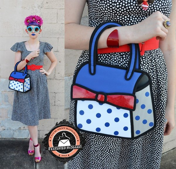 Zoe carries a bag from Jump From Paper, a brand known for its quirky 2D bags cartoon purses