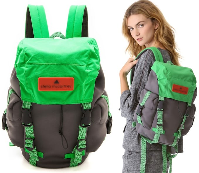 Adidas by Stella McCartney Neoprene Backpack in Sharp Gray/Rich Green