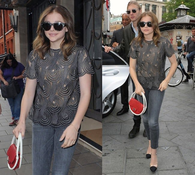 Chloë Moretz leaving her hotel for a day of promotion for her new film Kick-Ass 2