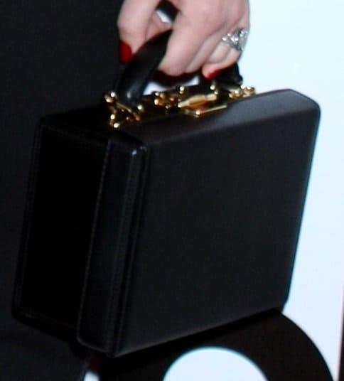 Jessica's box-shaped bag by Mark Cross