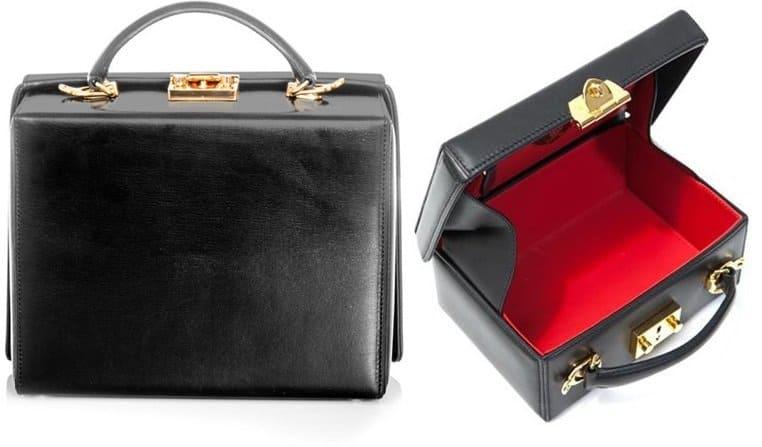 Mark Cross Grace Leather Box Bag in Black