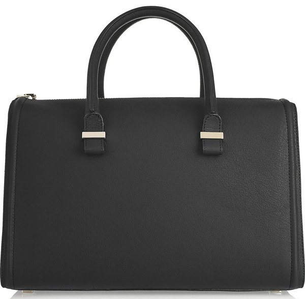 Victoria Beckham The Victoria Mini Matte-Leather Tote in Black
