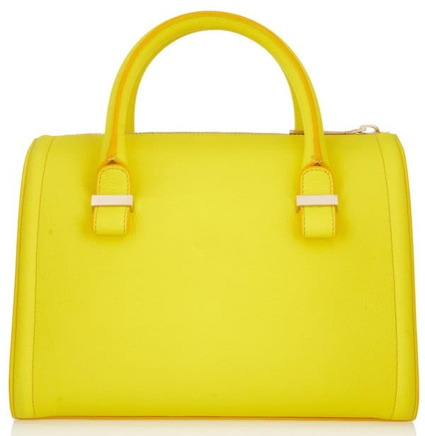 Victoria Beckham The Victoria Small Matte-Leather Tote in Yellow
