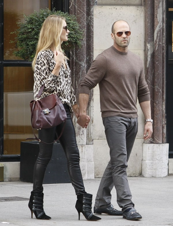 Rosie Huntington Whiteley Spotted Out And About With Jason Statham In Paris During Fashion
