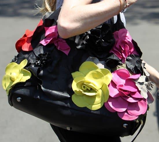 Amanda Seyfried's super flowery leather bag