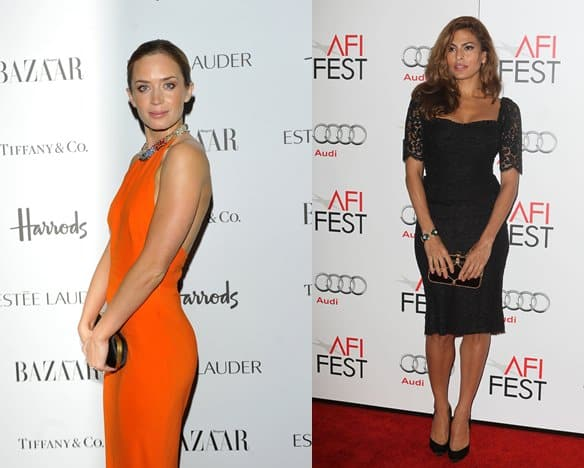 Actresses Emily Blunt (left) and Eva Mendes (right) look prim and proper as they display their clutches
