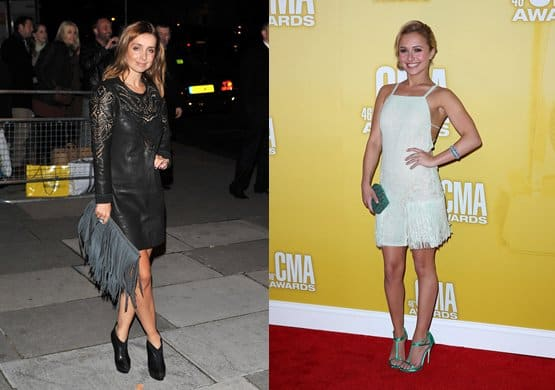 Singer Louise Redknapp (left) and actress Hayden Panettiere (right) carry their clutches with style