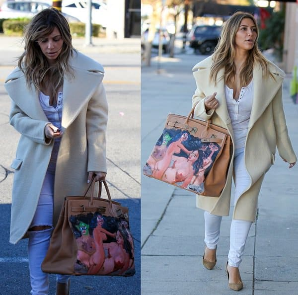 Kim Kardashian's customized bag features a nude painting by a famous contemporary artist, George Condo