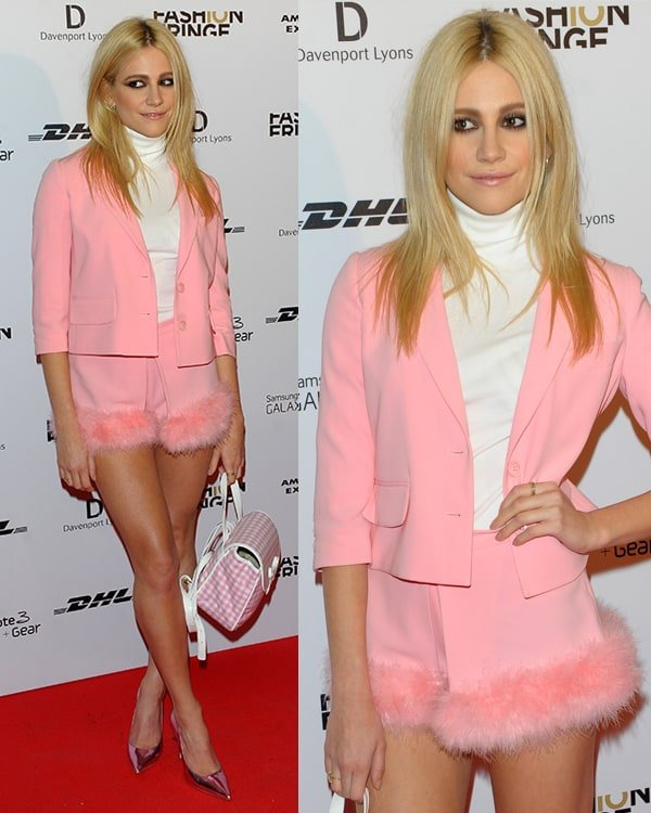 Pixie Lott's feminine Moschino Cheap and Chic spring 2014 outfit