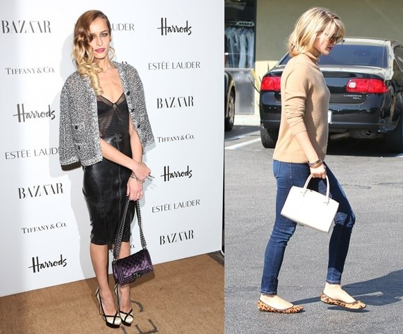 Model Alice Dellal (left) and actress Ali Carter (right) opt for strappy clutches