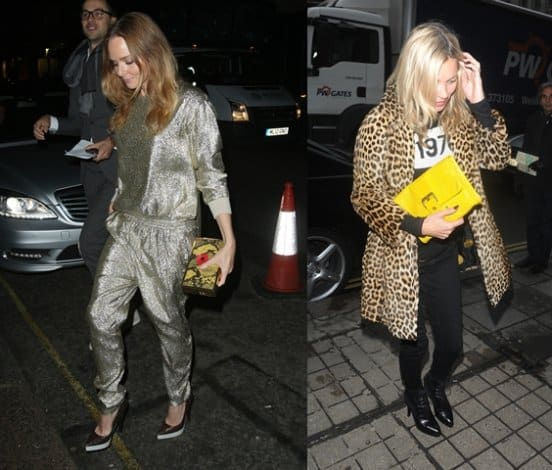 Designer Stella McCartney (left) and model Kate Moss (right) style it right with bold colors and interesting patterns