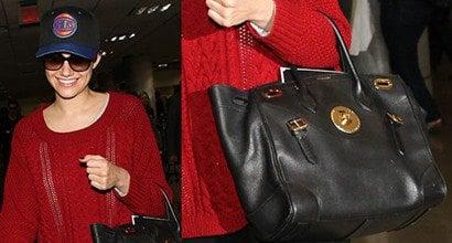 """50eac2a7bc Knicks Fan Emmy Rossum Carries Ralph Lauren """"Ricky"""" Satchel Bag"""