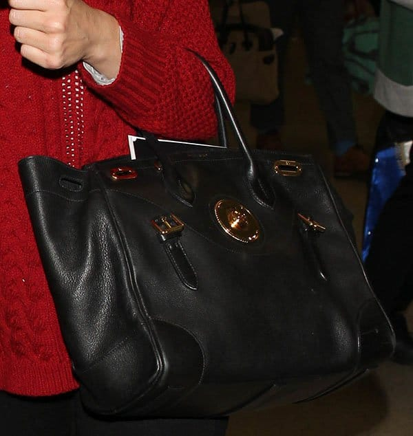"fe81f04c75 Emmy Rossum at LAX Emmy Rossum carrying a Ralph Lauren ""Ricky"" satchel"