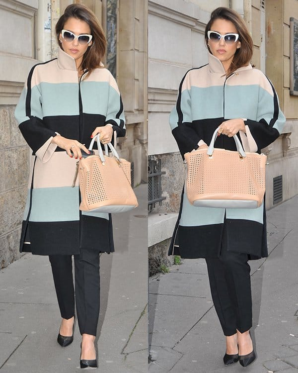 Jessica Albaon her way to have lunch at L'Avenue in Paris