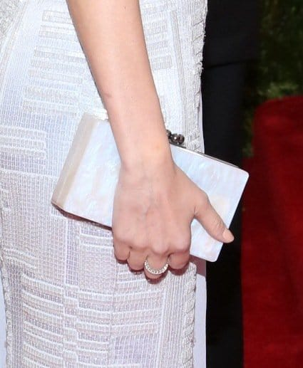 Diane Kruger opted for a pearly Edie Parker Jean clutch to complement her ice blue Hugo Boss gown