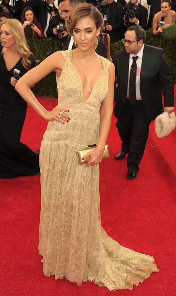 Jessica Alba at the 2014 Met Gala held at the Metropolitan Museum of Art in New York City on May 6, 2014