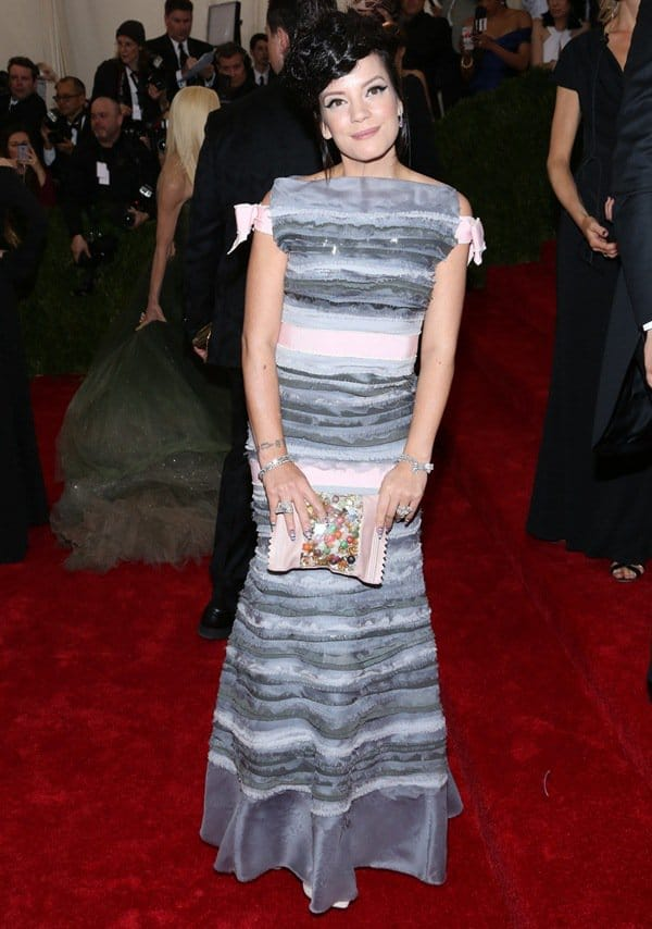 Lily Allen at the 2014 Met Gala held at the Metropolitan Museum of Art in New York City on May 6, 2014