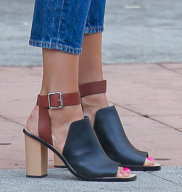 Jessica Alba wearing two-toned ankle-wrap mules