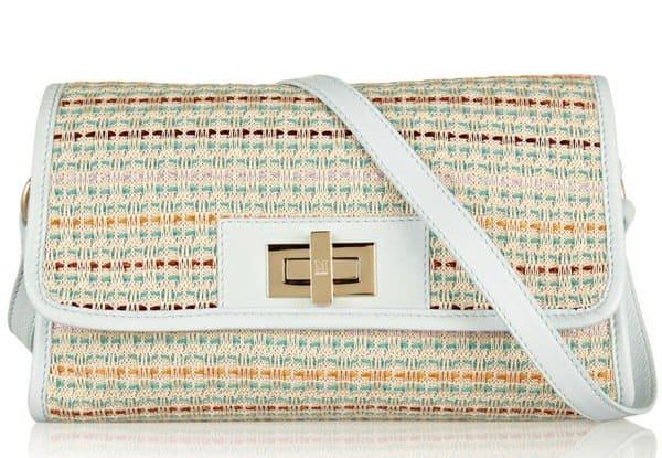M Missoni Leather-Trimmed Tweed Shoulder Bag