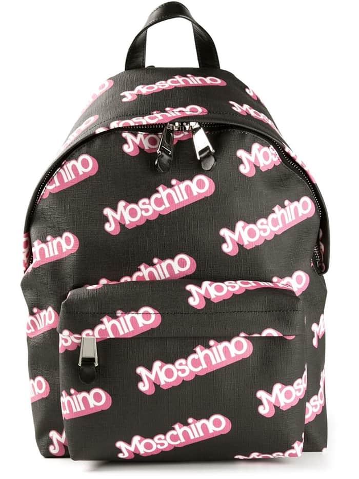 Moschino Logo Print Backpack Black