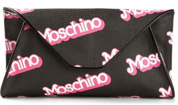 Moschino Logo Print Flap Clutch Black