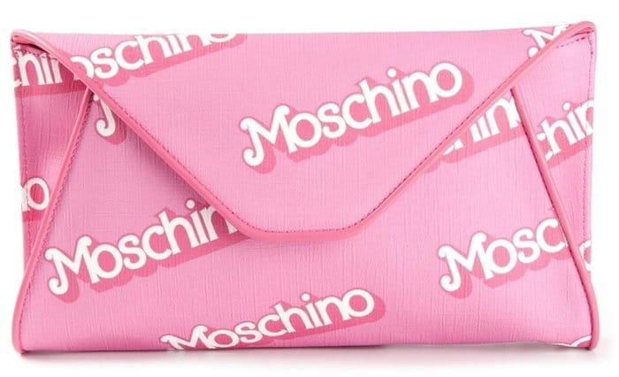 Moschino Logo Print Flap Clutch Pink