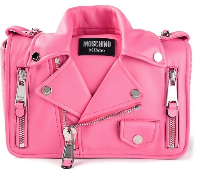 Moschino Biker Shoulder Bag in Pink