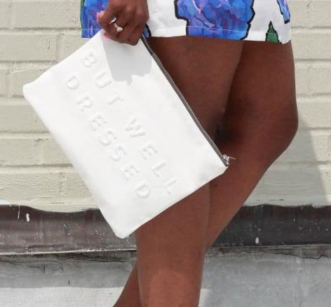 Marsha Campbell totes a 'stressed but well dressed' clutch from Zara