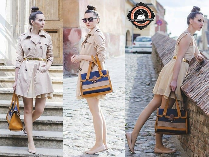 Nicoleta styled her colorblock tote with a beige trench coat