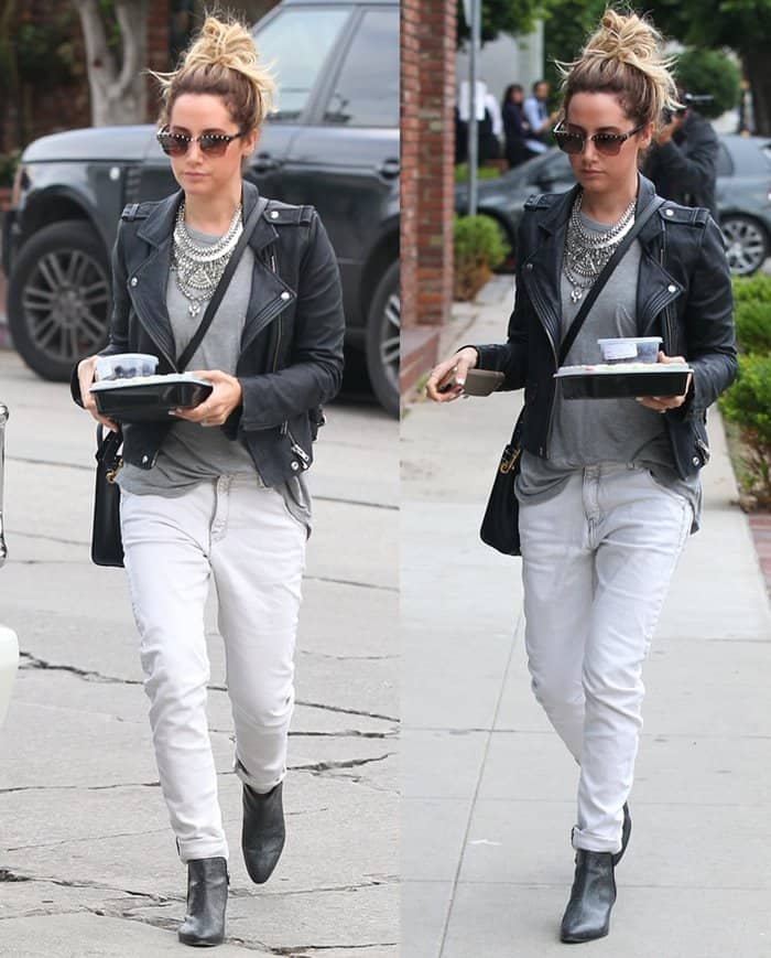 Ashley Tisdale with her lunch to go on Melrose Place in Los Angeles